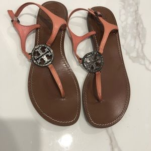 Tory Burch Shoes - Tory Burch Sandals with Embellished Logo